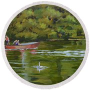Round Beach Towel featuring the painting The Red Punt by Murray McLeod
