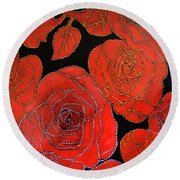 The Red Red Roses Round Beach Towel
