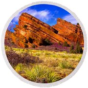The Red Rock Park Vi Round Beach Towel
