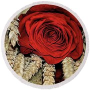 Round Beach Towel featuring the photograph The Red Rose On A Bed Of Wheat by Diana Mary Sharpton