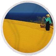 The Red San Dunes Of Mui Ne Vietnam Round Beach Towel