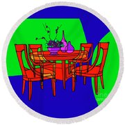The Red Table Round Beach Towel