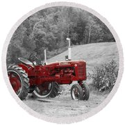 The Red Tractor Round Beach Towel