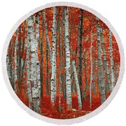 The Red Trees Round Beach Towel