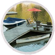 The Red Umbrella At The Lake Round Beach Towel