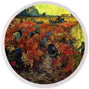 Round Beach Towel featuring the painting The Red Vineyard At Arles by Van Gogh