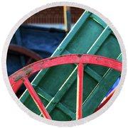 The Red Wagon Wheel Round Beach Towel
