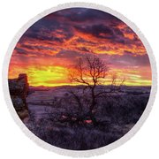 Round Beach Towel featuring the photograph The Redwater by Fiskr Larsen