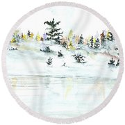 Round Beach Towel featuring the painting The Reflection Lake by Darren Cannell