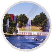 The Reflection Pond - Clemson University Round Beach Towel
