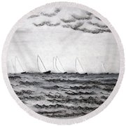 Round Beach Towel featuring the drawing The Regatta by J R Seymour