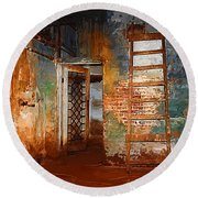 Round Beach Towel featuring the painting The Renovation by Holly Ethan