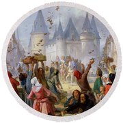 The Return Of Saint Louis Blanche Of Castille To Notre Dame Paris Round Beach Towel by Pierre Charles Marquis