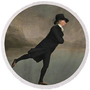 Round Beach Towel featuring the painting The Reverend Robert Walker Skating On Duddingston Loch by Sir Henry Raeburn