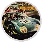 The Revolutionary Rover Brm At The Famous Le Mans Racing Track In 1963 Round Beach Towel