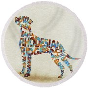 Round Beach Towel featuring the painting The Rhodesian Ridgeback Dog Watercolor Painting / Typographic Art by Ayse and Deniz