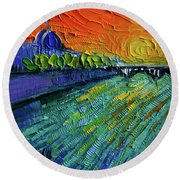 The Rhone River Palette Knife Oil Painting By Mona Edulesco Round Beach Towel