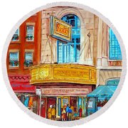 Round Beach Towel featuring the painting The Rialto Theatre Montreal by Carole Spandau
