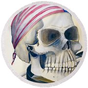 The Rider's Skull Round Beach Towel