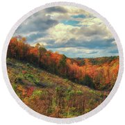 The Ridges Of Southern Ohio In Fall Round Beach Towel