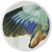 The Right Wing Of A Blue Roller Round Beach Towel