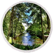 Round Beach Towel featuring the photograph The River At Covewood by David Patterson