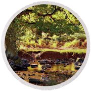 The River Lin , Bradgate Park Round Beach Towel