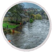 The River Nidd In Flood At Knaresborough Round Beach Towel