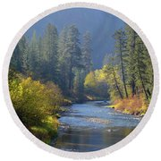The River Runs Through Autumn Round Beach Towel