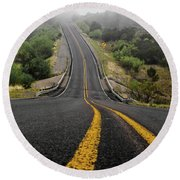 The Road Goes On Forever And The Party Never Ends Round Beach Towel