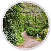 The Road Less Traveled-waipio Valley Hawaii Round Beach Towel