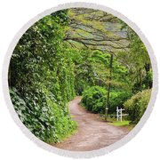 The Road Less Traveled-waipio Valley Hawaii Round Beach Towel
