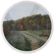 The Road To Autumn Round Beach Towel