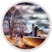 The Road To Farmville Round Beach Towel
