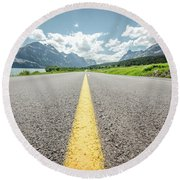 Round Beach Towel featuring the photograph The Road To Glacier by Margaret Pitcher