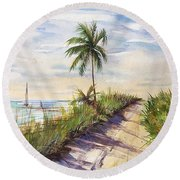 The Road To Happiness  Round Beach Towel