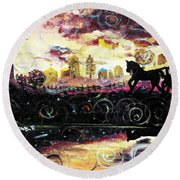 Round Beach Towel featuring the painting The Road To Home by Shana Rowe Jackson