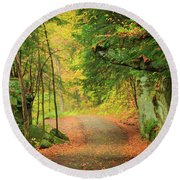 The Road To The Mill  Round Beach Towel