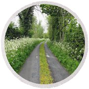 The Road To The Wood Round Beach Towel by Ethna Gillespie