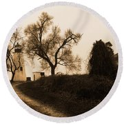 The Road To Turkey Point Lighthouse Round Beach Towel