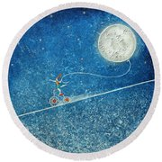 The Robbery Of The Moon Round Beach Towel