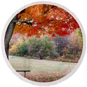 The Robert Frost Farm Round Beach Towel