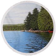 Round Beach Towel featuring the painting The Rock At Goldstein's Moose Lake by Kenneth M Kirsch
