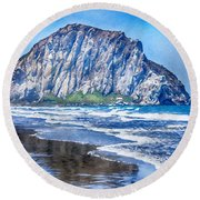 The Rock At Morro Bay Large Canvas Art, Canvas Print, Large Art, Large Wall Decor, Home Decor, Photo Round Beach Towel by David Millenheft