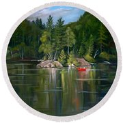 The Rock On Mirror In Woodstock New Hampshire Round Beach Towel