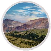 Round Beach Towel featuring the photograph The Rockies by Bill Gallagher