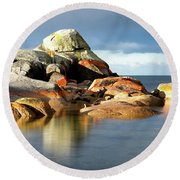 The Rocks And The Water Round Beach Towel