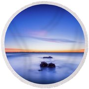 Round Beach Towel featuring the photograph The Rocks Before Sunrise. by Gary Gillette