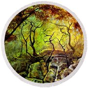 Round Beach Towel featuring the painting The Rocks In Starachowice by Henryk Gorecki