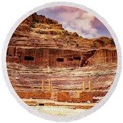 The Roman Theater At Petra Round Beach Towel
